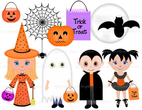 Kids with costumes clipart