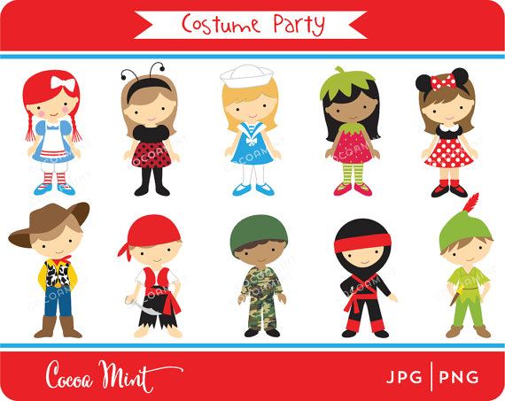 Kids with costumes clipart banner royalty free Costume Party Clipart - Clipart Kid banner royalty free