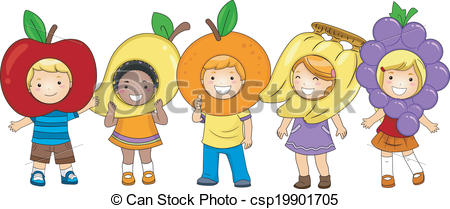 Kids with costumes clipart clip art free library Vector Clipart of Kids Fruits Costumes - Illustration of Kids ... clip art free library