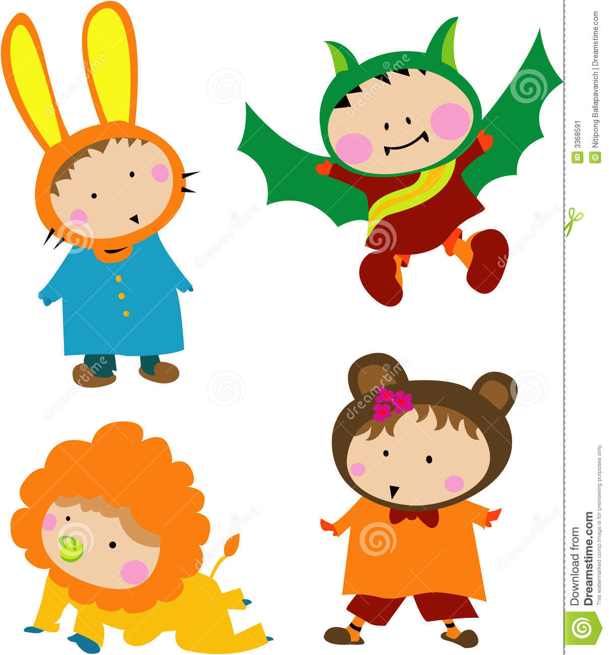Kids with costumes clipart graphic royalty free stock Kids animal costume clipart - ClipartFest graphic royalty free stock