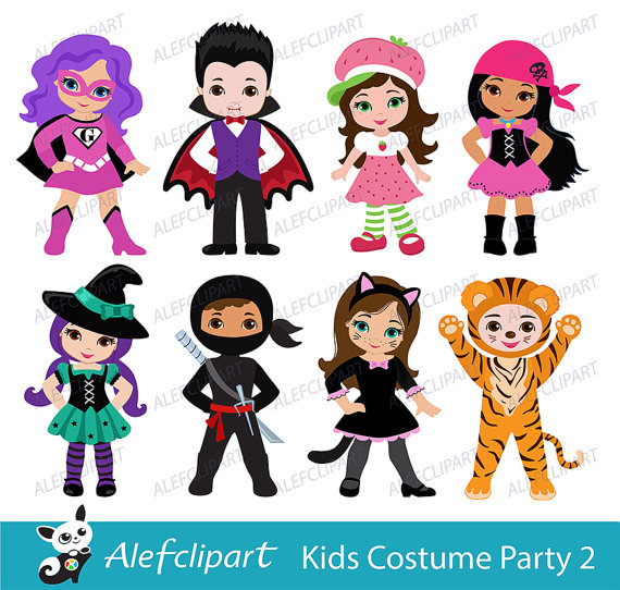 Kids with costumes clipart image download Kids halloween costumes clipart - ClipartFest image download