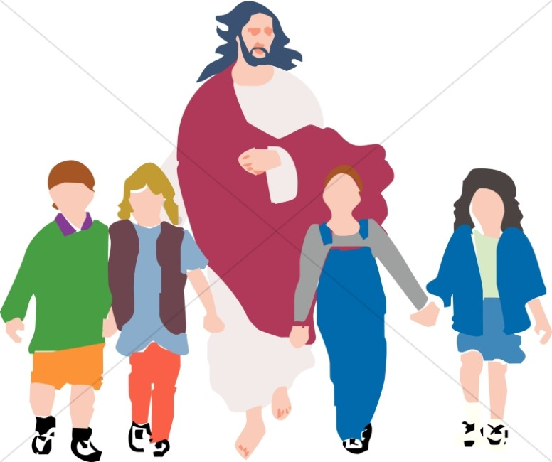 Kids with jesus clipart graphic black and white Child walking with jesus clipart - ClipartFest graphic black and white