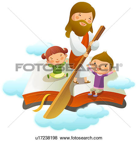 Kids with jesus clipart banner free stock Drawings of Jesus Christ sitting with two children u17185194 ... banner free stock
