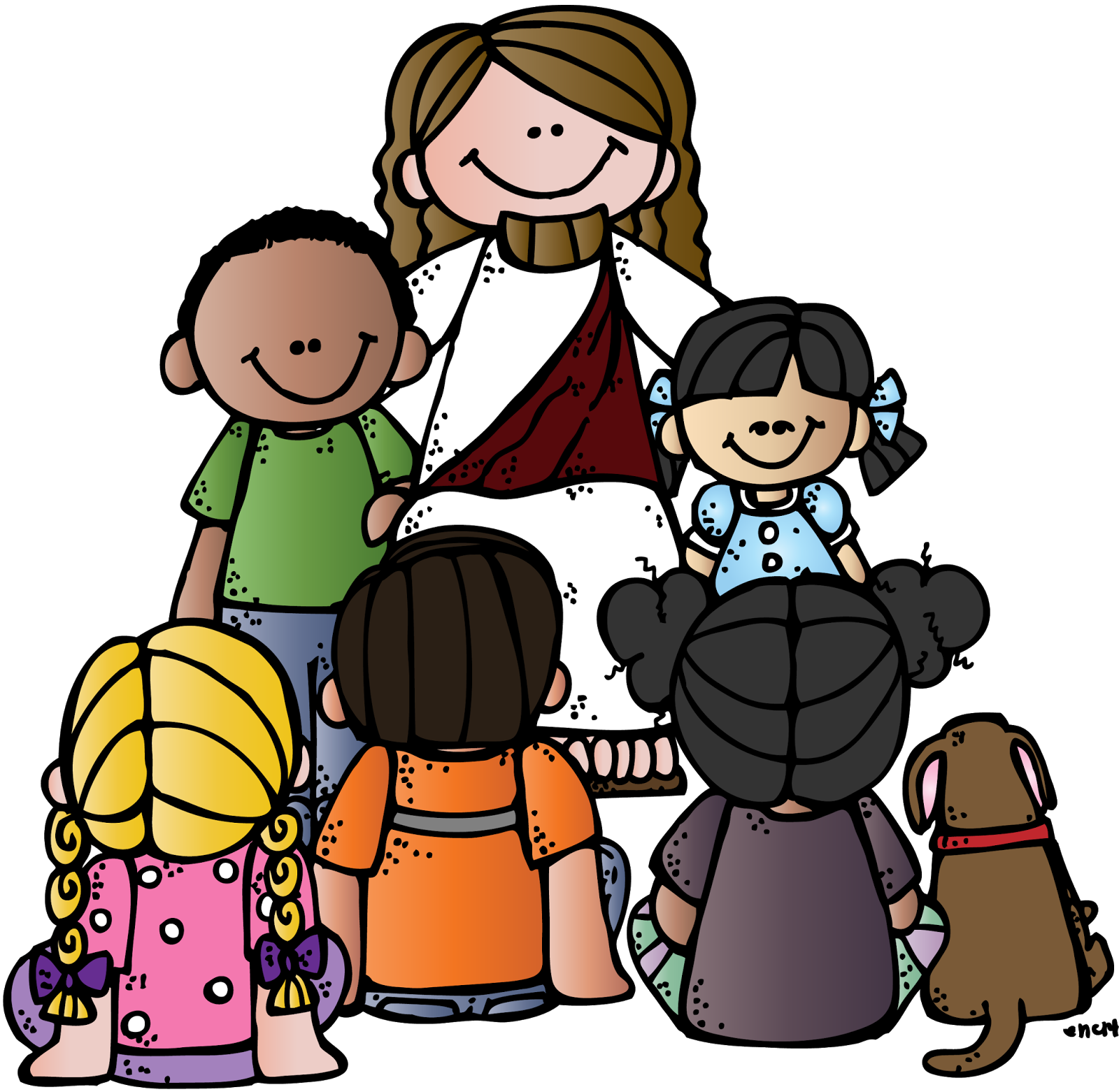 Religious christmas clipart clip art black and white Kids with jesus clipart - ClipartFest clip art black and white