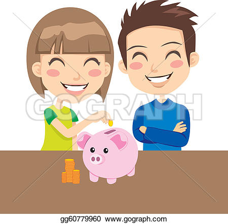 Kids with money clipart svg transparent Vector Illustration - Kids saving money. Stock Clip Art gg60779960 ... svg transparent