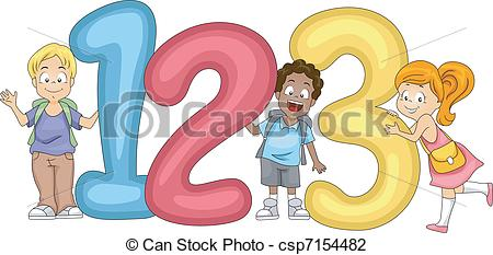 Kids with numbers clipart image library Vector Illustration of Kids Numbers - Illustration of Kids Posing ... image library