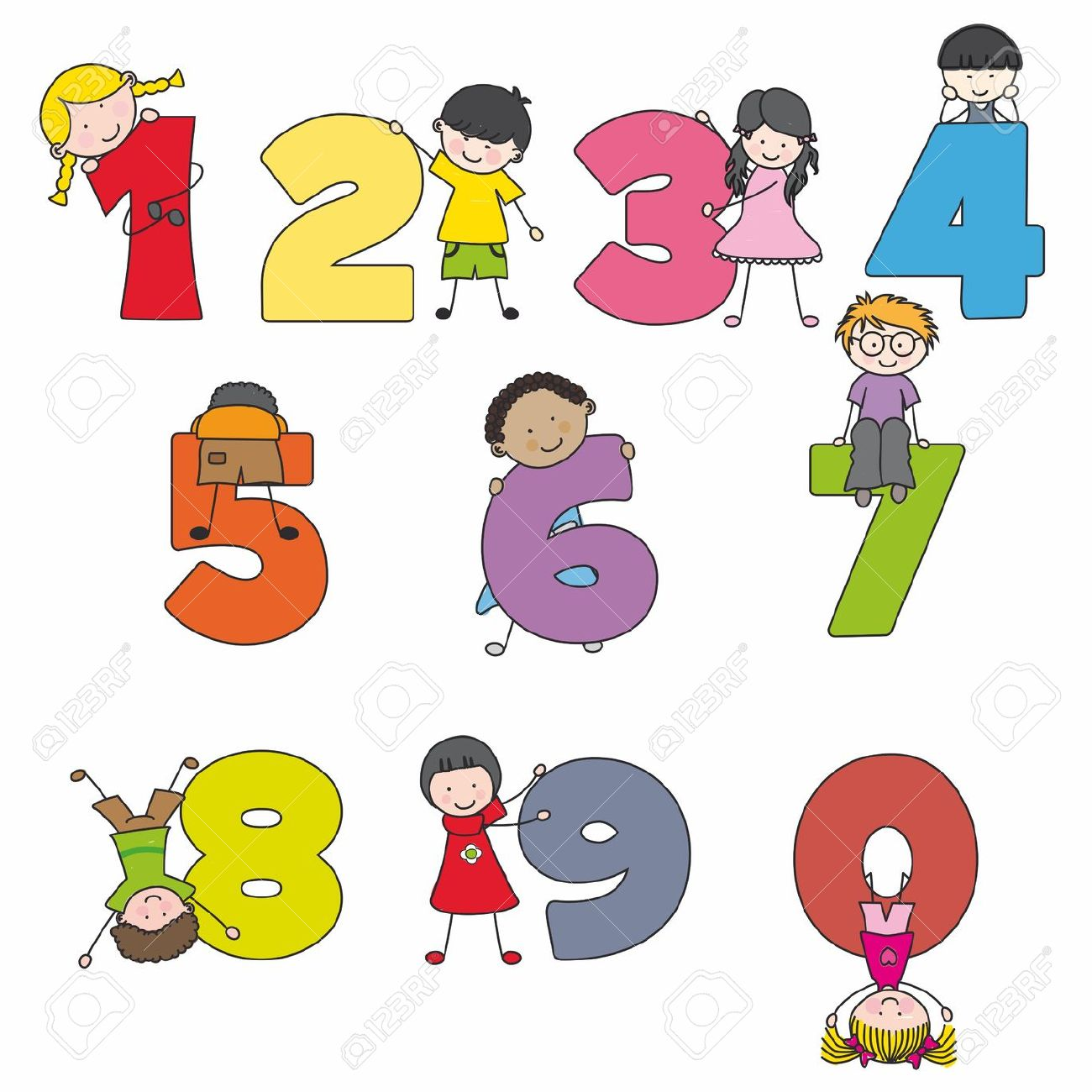 Kids with numbers clipart png black and white download Numbers Clipart For Kids image tips png black and white download