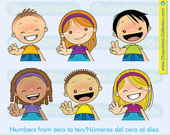Kids with numbers clipart image freeuse stock Learn numbers | Etsy image freeuse stock