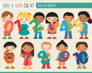 Kids with numbers clipart clipart black and white stock Kids With Numbers Clip Art - color and outlines | Colors, Clip art ... clipart black and white stock