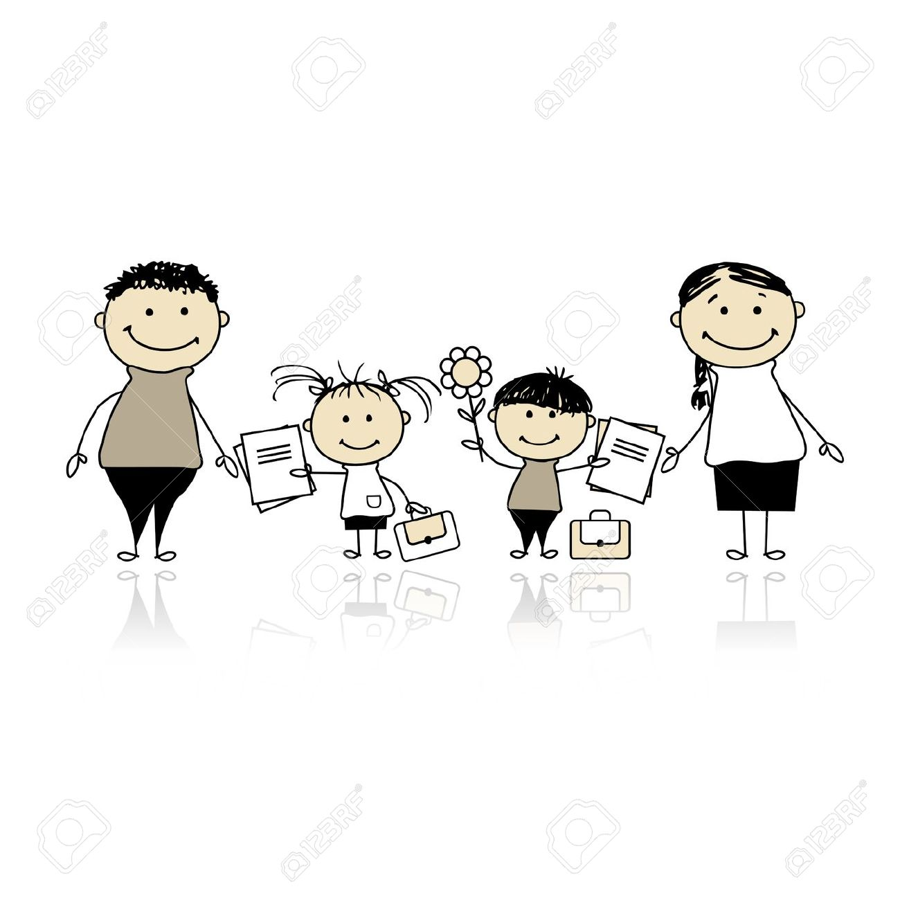 Kids with parents clipart picture black and white download Back To School, Children With Parents Royalty Free Cliparts ... picture black and white download