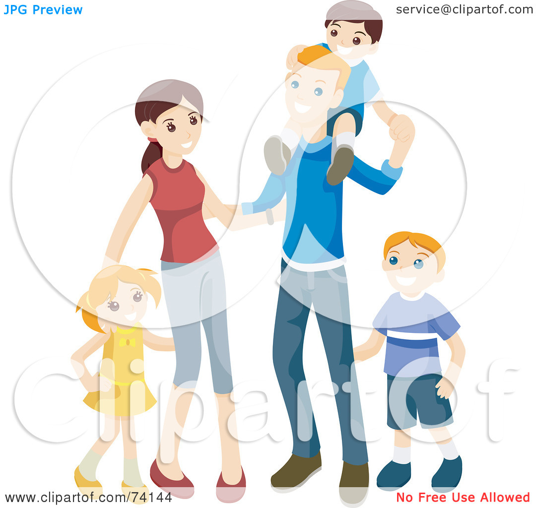 Kids with parents clipart image transparent Royalty-Free (RF) Clipart Illustration of a Happy Family Of Two ... image transparent