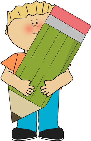 Kids with pencil clipart