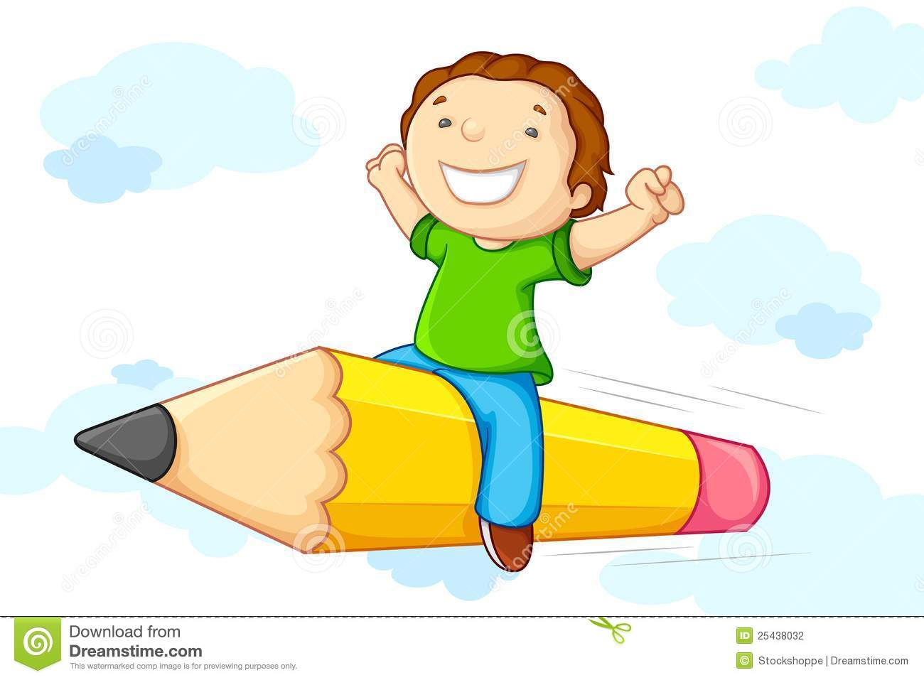 Kids with pencil clipart vector transparent stock Kid Flying On Pencil Stock Photography - Image: 25438032 vector transparent stock