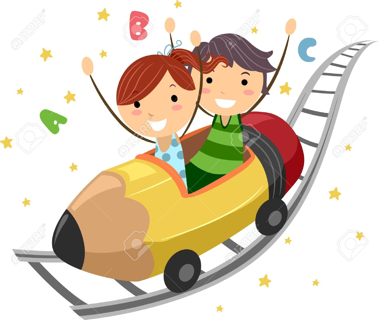 Kids with pencil clipart clipart transparent stock Illustration Of Kids Riding On A Pencil Ride Stock Photo, Picture ... clipart transparent stock