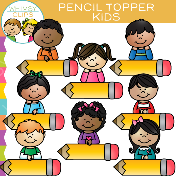 Kids with pencil clipart picture free library Pencil Topper Kids Clip Art , Images & Illustrations | Whimsy Clips picture free library