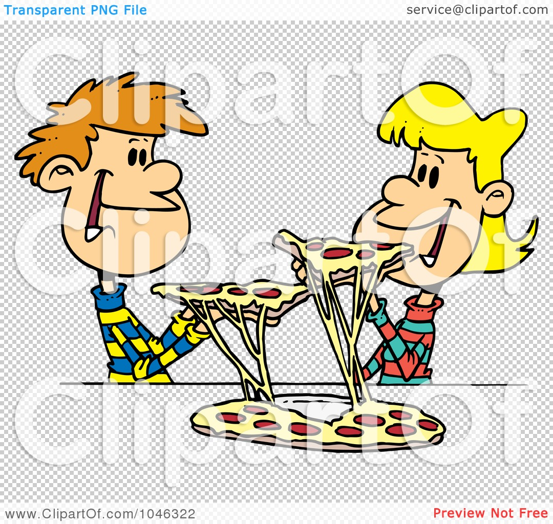 Kids with pizza clipart freeuse download Royalty-Free (RF) Clip Art Illustration of a Cartoon Couple Of ... freeuse download