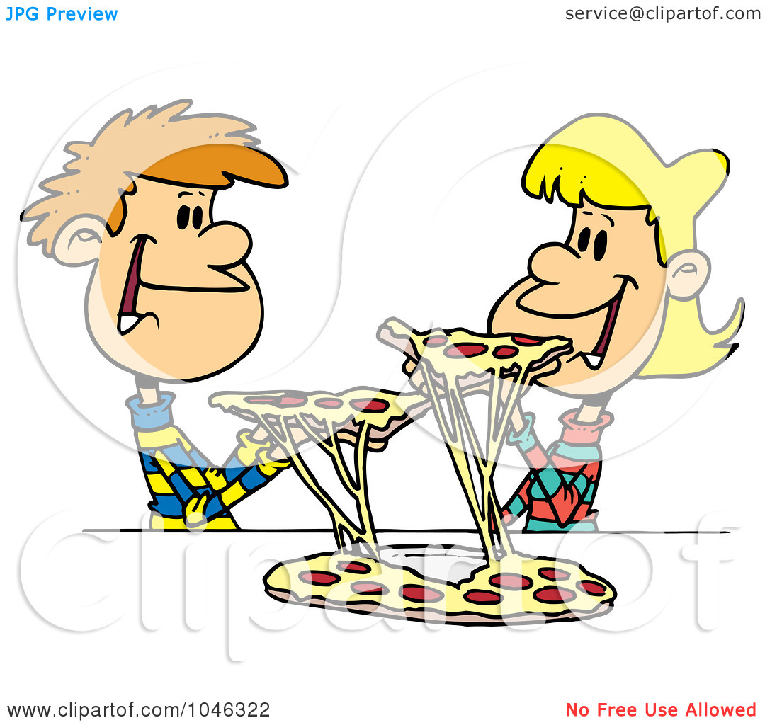 Kids with pizza clipart clip freeuse download Royalty-Free (RF) Clip Art Illustration of a Cartoon Couple Of ... clip freeuse download