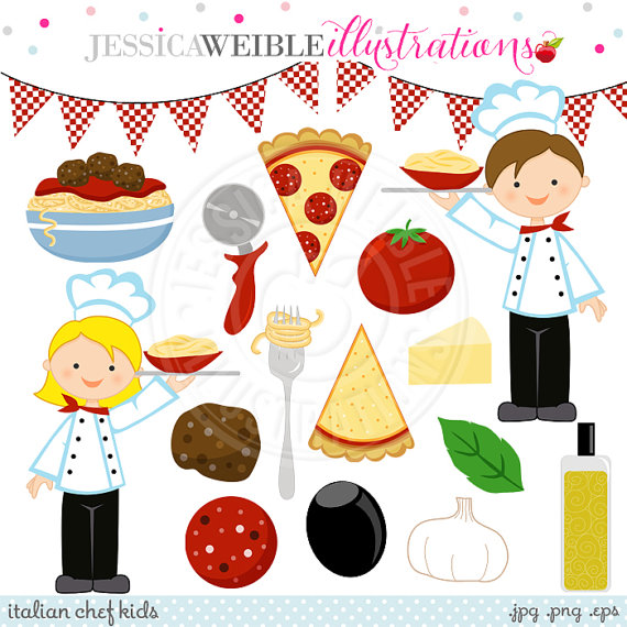 Kids with pizza clipart graphic black and white Italian Chef Kids Cute Digital Clipart - Commercial Use OK - Pizza ... graphic black and white