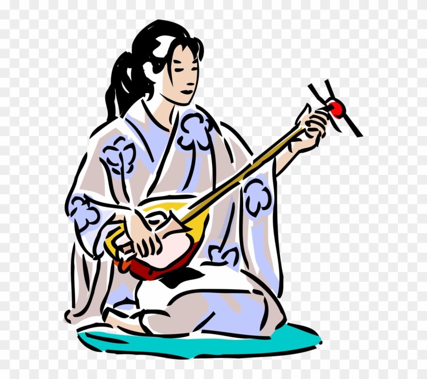 Kimono clipart jpg royalty free Vector Illustration Of Japanese Geisha In Kimono With - Cartoon ... jpg royalty free