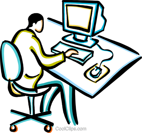 Kind am computer clipart picture black and white library Arbeiten am computer clipart - ClipartFest picture black and white library
