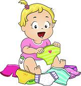 Kind anziehen clipart graphic library download Clip Art of Baby Wearing Cloth Diaper k4095038 - Search Clipart ... graphic library download