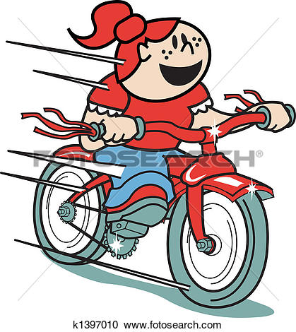 Kind auf fahrrad clipart image Clipart of Girl on bike or riding bicycle art k1397010 - Search ... image