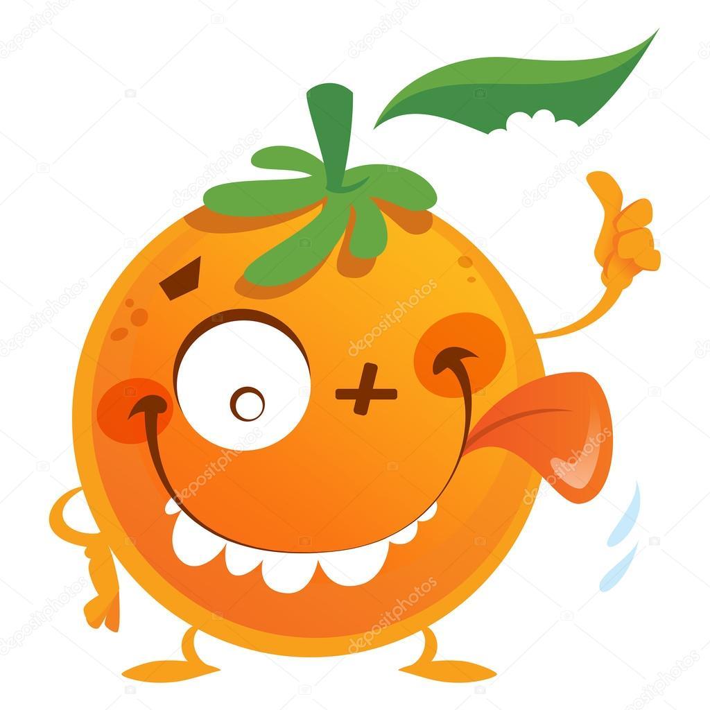 Kind daumen hoch clipart clipart black and white stock Verrückten Comic-orange Frucht Charakter einen Daumen nach oben ... clipart black and white stock