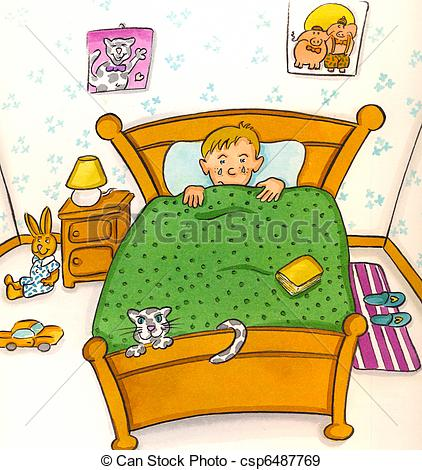 Kind im bett clipart jpg royalty free Stock Illustration of child in bed csp6487769 - Search Vector ... jpg royalty free