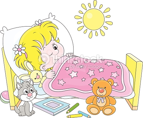Kind im bett clipart png black and white library Girl Waking Up Vector Art | Thinkstock png black and white library