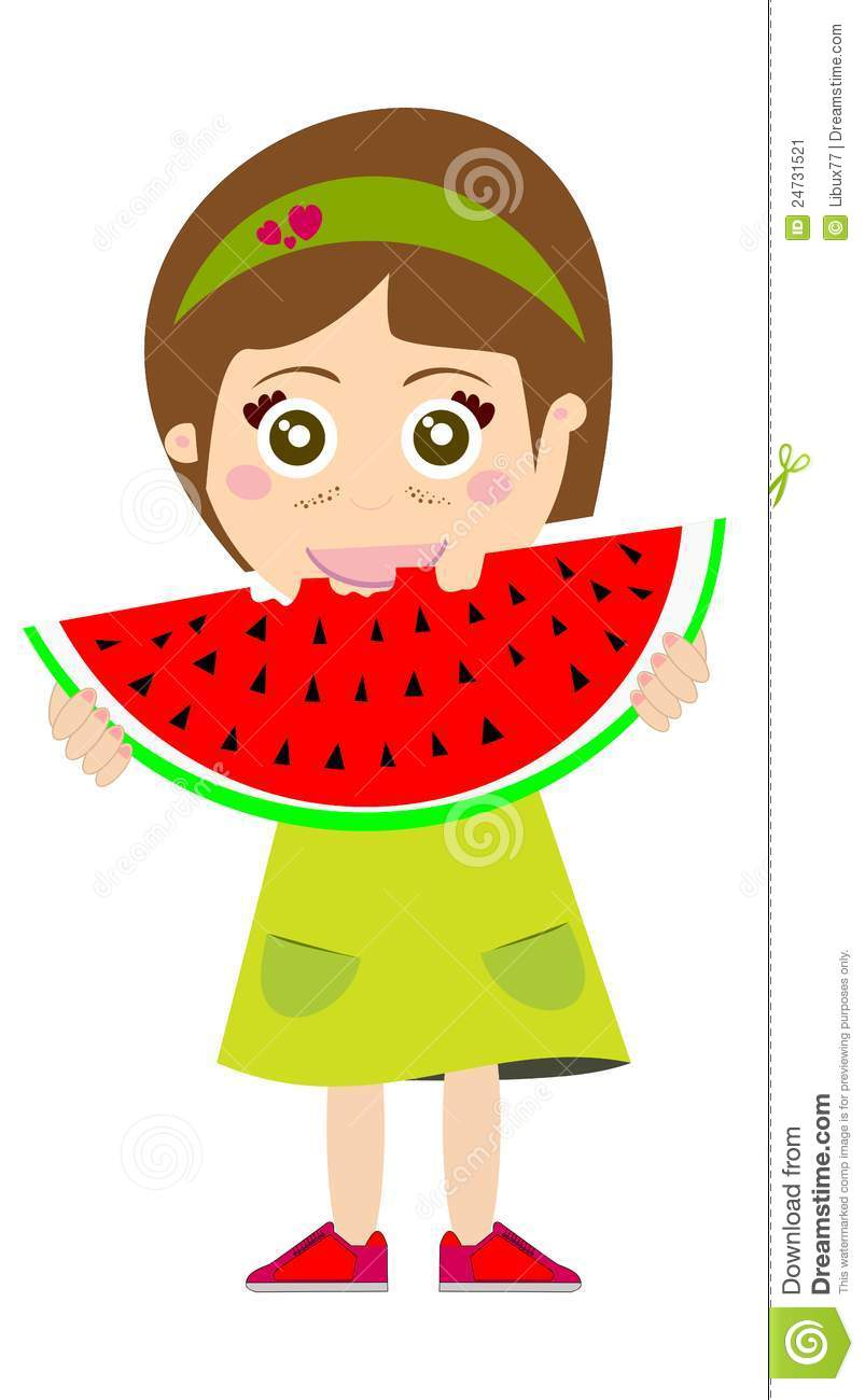 Kind isst clipart banner transparent library Kid Eating Watermelon Stock Image - Image: 24731521 banner transparent library