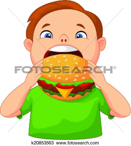 Kind isst clipart clip art royalty free library Clipart of Boy cartoon eating burger k20853563 - Search Clip Art ... clip art royalty free library