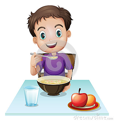 Kind isst clipart graphic library library Young Boy Kitchen Eating Soup Stock Photos, Images, & Pictures ... graphic library library