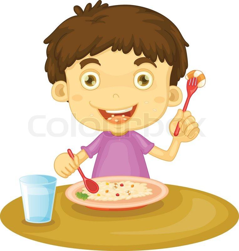 Kind isst clipart jpg freeuse download Kind isst | Vektorgrafik | Colourbox jpg freeuse download
