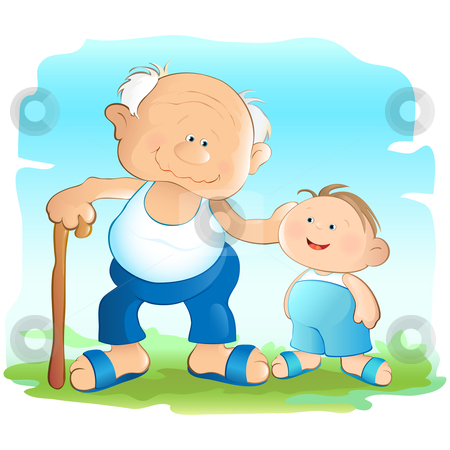 Kind kids clipart picture Grandfather stock vector picture