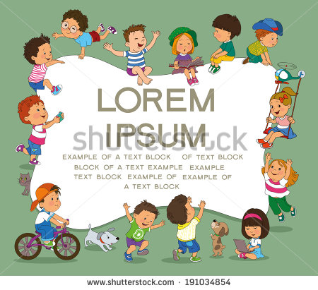 Kind mit buch clipart png stock Happy Children Holding Blank Poster Template Stock-vektorgrafik ... png stock