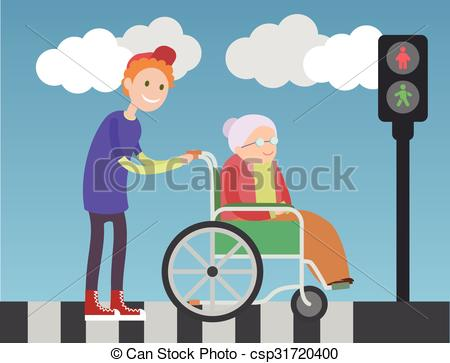 Kind people clipart picture freeuse download Vector Clipart of Kind boy helps old lady in wheelchair. People ... picture freeuse download