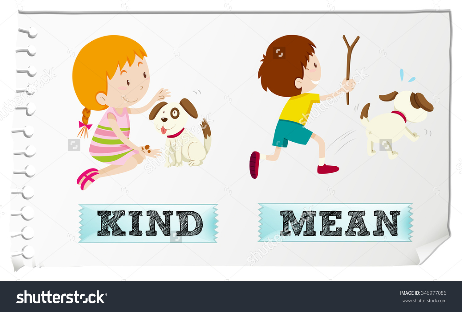 Kind words clipart clipart black and white Opposite Adjectives Kind Mean Illustration Stock Vector 346977086 ... clipart black and white