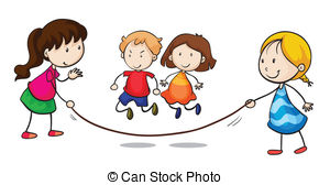 Kinder im garten clipart clip freeuse stock Jumping rope play Illustrations and Stock Art. 691 Jumping rope ... clip freeuse stock