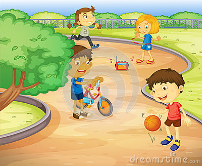 Kinder im garten clipart vector stock Boys And Girls In Different Actions Stock Vector - Image: 67935198 vector stock