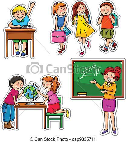 Kinder in der schule clipart clip art black and white Vektor Clip Art von Schule, Kinder - satz, von, Kinder, und ... clip art black and white