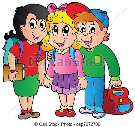 Kinder in der schule clipart graphic royalty free stock Clip Art Vektor von Schule, Kinder, drei, glücklich - drei ... graphic royalty free stock