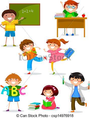 Kinder in der schule clipart svg royalty free download Vektor Clip Art von Schule, Kinder - satz, von, Kinder, Machen ... svg royalty free download