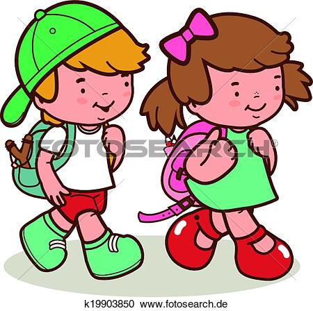 Kinder in der schule clipart image royalty free stock Clipart - kaukasisches, kinder, schule gehen k19903850 - Suche ... image royalty free stock