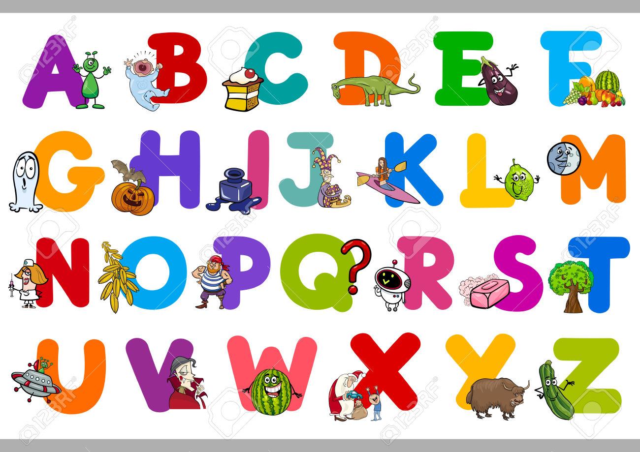 Kindergarten alphabet clipart svg free Cartoon Illustration Of Capital Letters Alphabet Set For ... svg free
