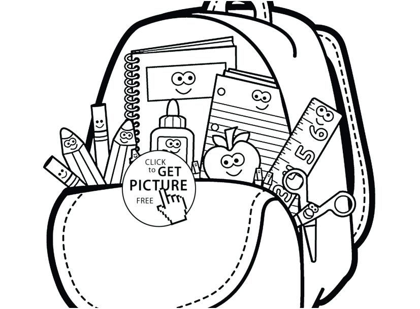 Kindergarten backpack clipart black and white with school supplies download School Supplies Coloring Page Back To School Coloring Pages Free ... download