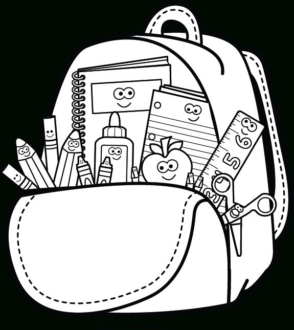 Kindergarten backpack clipart black and white with school supplies vector transparent stock Backpack And Supplies Clipart | Spalvinimo Paveikslėliai intended ... vector transparent stock