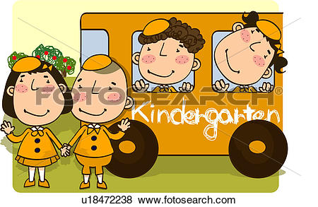 Kindergarten bus clipart image royalty free download Stock Illustration of girl, child, boy, school bus, kindergarten ... image royalty free download