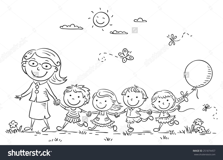 Kindergarten clipart outline clip art download Kids Their Teacher On Walk Kindergarten Stock Vector 251874457 ... clip art download