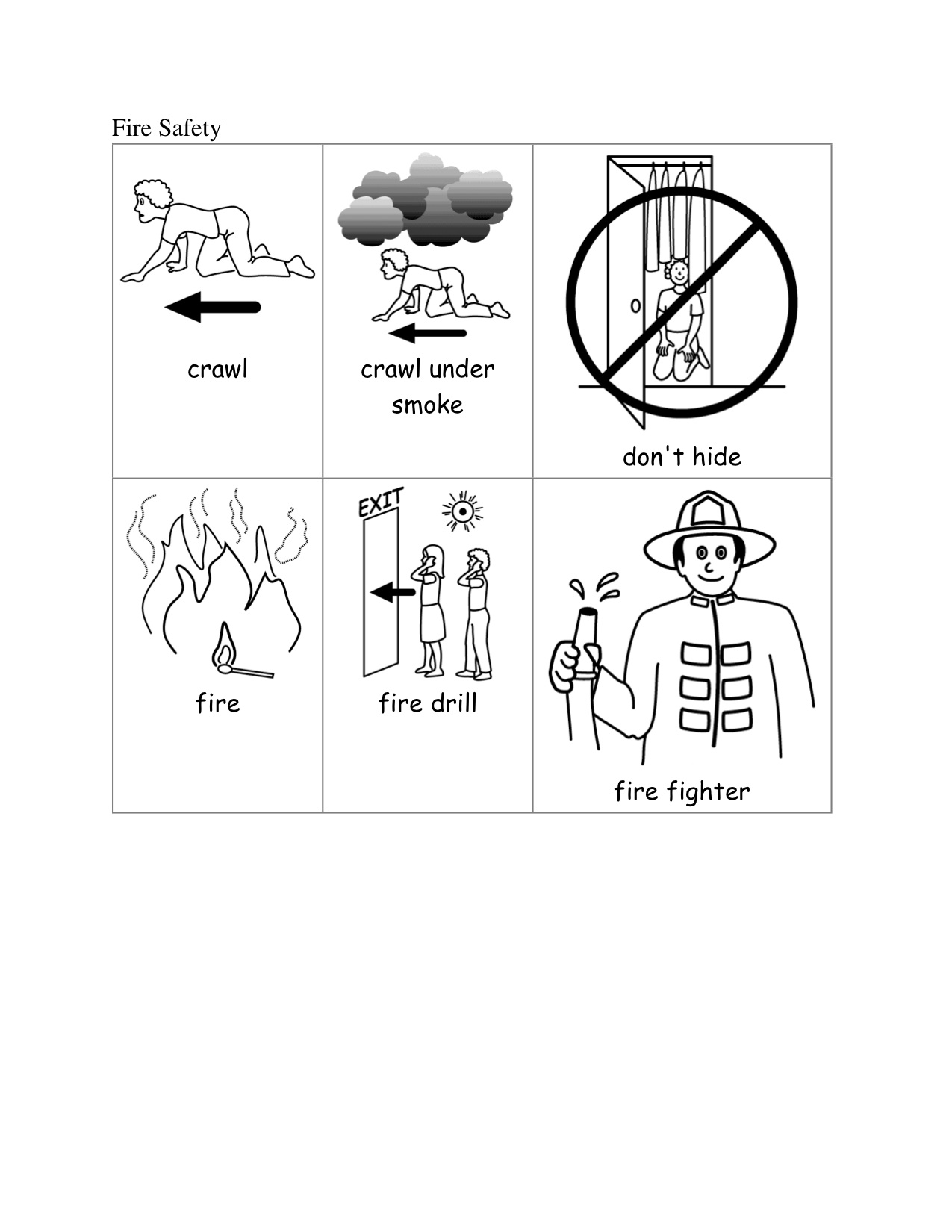 Kindergarten fire safety clipart black and white clipart library stock Fire Safety | Kindergarten Nana clipart library stock