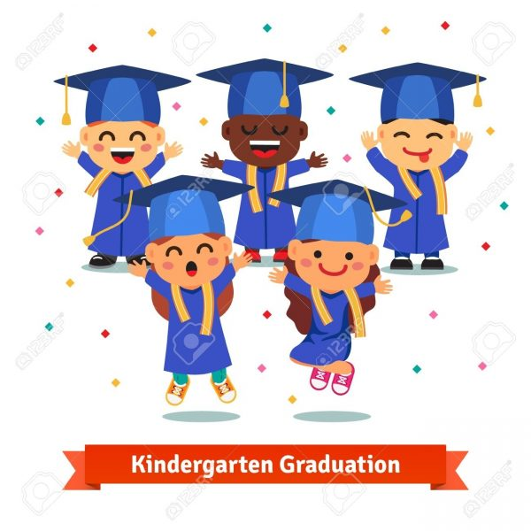 Kindergarten graduation 2018 clipart graphic transparent library Kindergarten Graduation Party. Kids In Mortar Boards And Gowns ... graphic transparent library